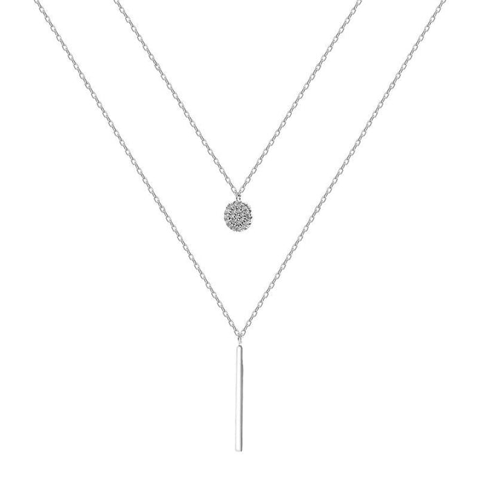 925 Sterling Silver Double Necklace Choker Shiny Zircon Geometric Long Delicate Chain - Glitzy Swan