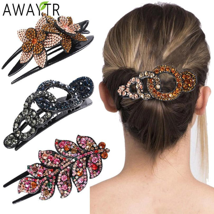 Luxury Crystal Rhinestone Tree Leaf Hair Clips - Glitzy Swan