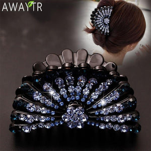 Large Crystal Rhinestone Floral Claw Clips Hair Accessories - Glitzy Swan