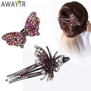 Luxury Butterfly Rhinestone Crystal Hair Clips Hair Accessories - Glitzy Swan