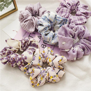 Chiffon Print Fashion Purple Elastic Hair Scrunchie Bands - Glitzy Swan