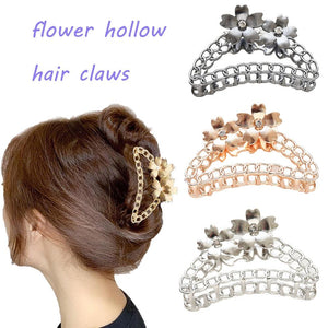 Big Alloy Flower Hair Claws for Women Barrettes Hairpin Crab Metal Hair Claw Clips for Women Hair Accessories Headwear - Glitzy Swan