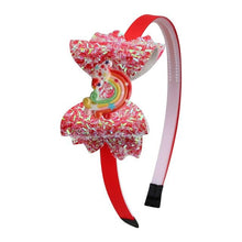 Load image into Gallery viewer, Children Bow Hairband Rainbow Headband Girls - Glitzy Swan