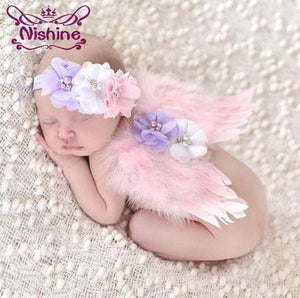 Nishine Cute Newborn Angel Feather Wings With Chiffon Flower Headband Set Photo Prop Girls Children Headwear Accessories - Glitzy Swan