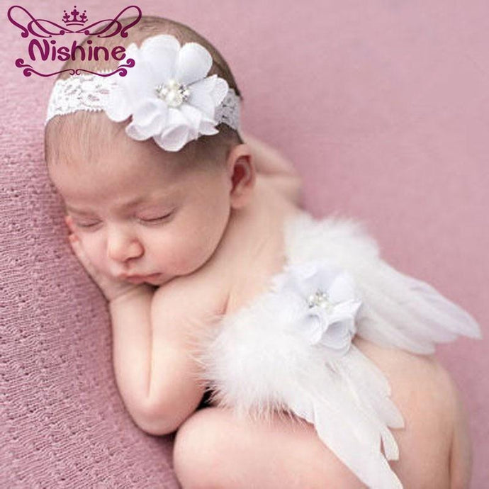 Nishine Newborn Angel Feather Wing With Chiffon Flower Lace Headband Kids Children Newborn Photography Props Gift Accessories - Glitzy Swan
