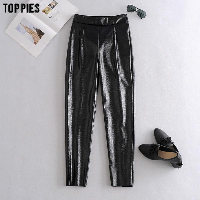 Trousers Black Faux Leather Pants Women's High Waist Pencil Pants Trousers - Glitzy Swan