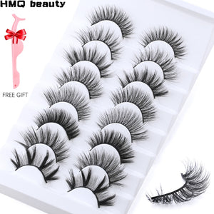 5/8/10 pairs 3D Faux Mink Lashes Dramatic Volume Silk Eyelashes