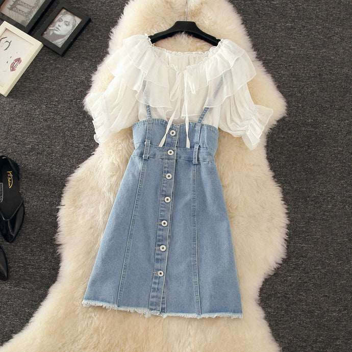 Fashion Chiffon Blouse + Denim Suspender Skirt Summer 2 Piece Set