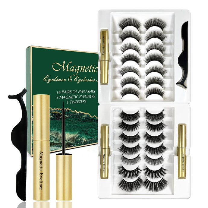 14 Pair Magnetic Eyelashes and Eyeliner Set With Magnet Extension Liquid Eyeliner & Tweezer Set Waterproof