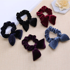 Velvet Scrunchies Rabbit Ear Bow Hair Bands