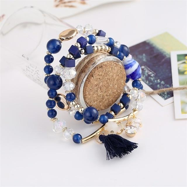 3 Pcs Beaded Stretch Bracelet With Tassel - Glitzy Swan