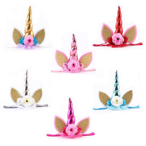 Nishine New Lace Elastic Unicorn Hair Band Unicorn Flower Headband Hair Accessories Lovely Kids Crown Headbands Christmas Gift - Glitzy Swan