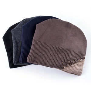 Winter Knit Rhinestones Color Stitching Beanies Skullies Caps