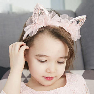 1 Pcs New Kawaii Princess cat ears veil tiara girls kids hairband hair head hoop band accessories give child headwear ornaments - Glitzy Swan