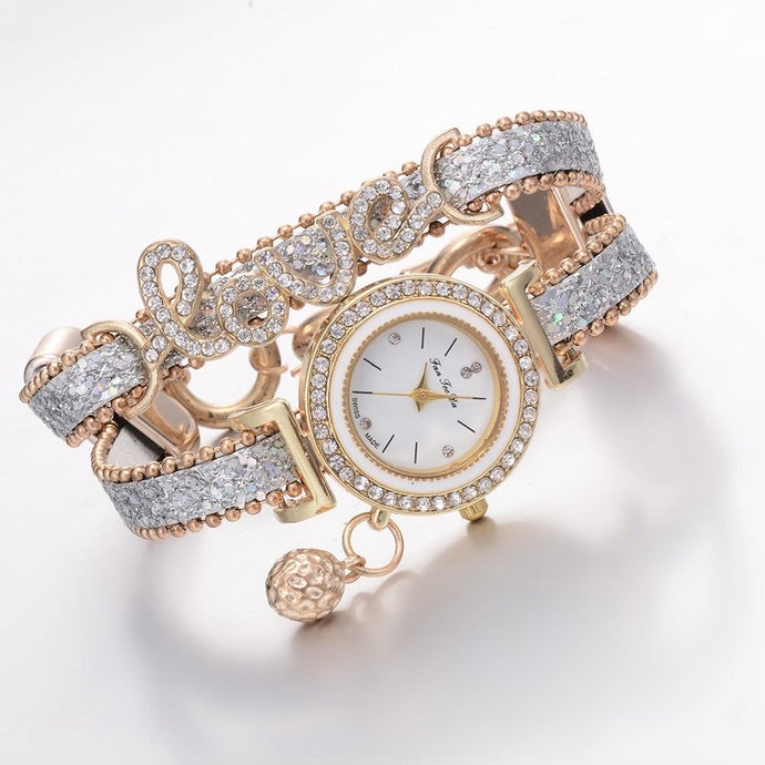 Weave Wrap Crystal Quartz Watches - Glitzy Swan