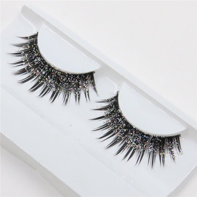 1pair Sequins Faux 3D Mink False Eyelashes Long Cotton Fiber Thick Silver Glitter Exaggerated Lashes Nightclub Stage Eye Makeup