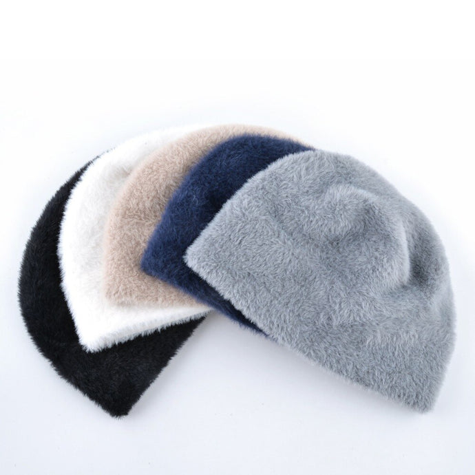 Faux Fur Warm Fluffy Solid Color Skullies Beanies Knit Caps