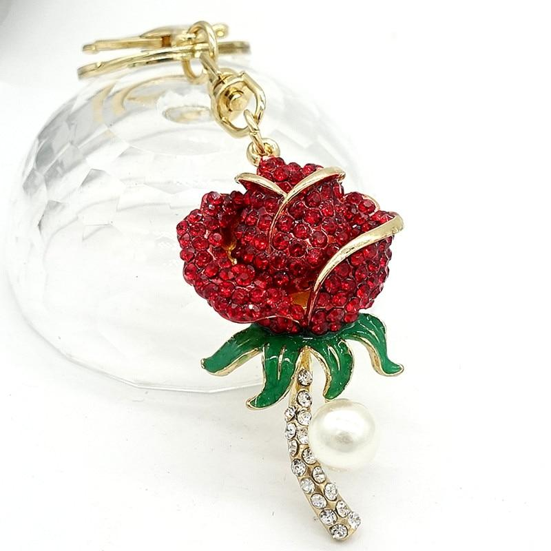 Rose Flower Rhinestone Crystal CZ Key Chain - Glitzy Swan