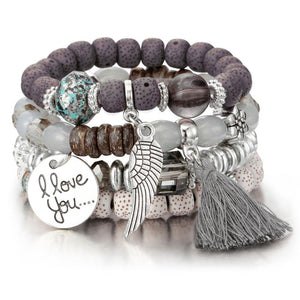 Beautiful Stone Beads With Various Charms Bohemian Bracelet Set - Glitzy Swan