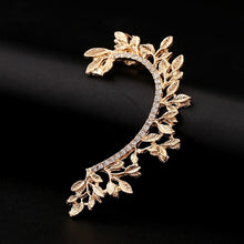 Load image into Gallery viewer, fashion earrings Hot Sell Leaf Ear Cuff Curved Rhinestones Zinc Alloy Earcuffs Unique Jewelry Accessories Girl Gift Clip Earring - Haute Swan LLC