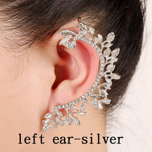 fashion earrings Hot Sell Leaf Ear Cuff Curved Rhinestones Zinc Alloy Earcuffs Unique Jewelry Accessories Girl Gift Clip Earring - Haute Swan LLC