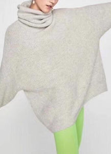Winter Turtleneck Oversized  Loose Sweater With Batwing Sleeves - Glitzy Swan