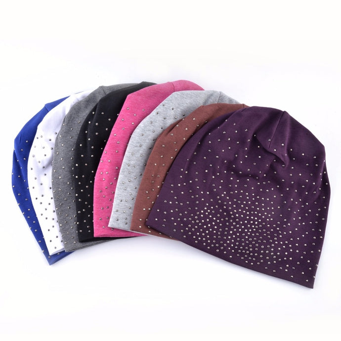 Rhinestone Solid Color Casual Slouchy Skullies Beanies Hats