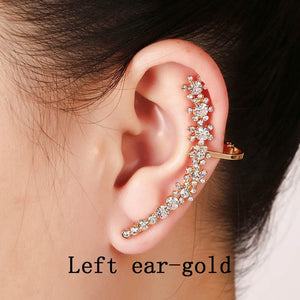 Ear Cuff Full Crystal Flower Clip Earring Jewelry Accessories - Haute Swan LLC