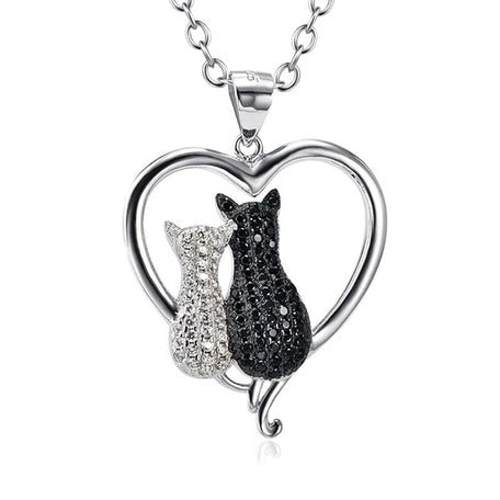 Cats In a Heart Pendant & Necklace