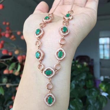 Natural Green Emerald Necklace