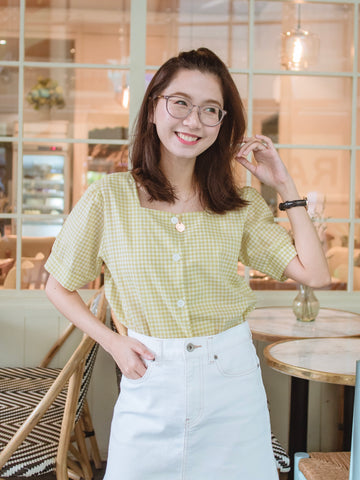 Rosa Checkered Blouse - Lime