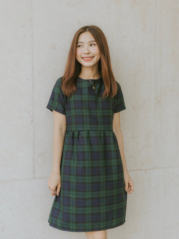 Ukiyo Checkered Dress - Blue & Green