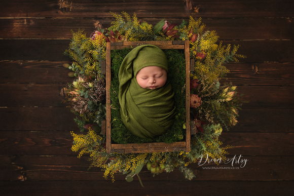 Olive Green Wrap And Sleepy Hat Set