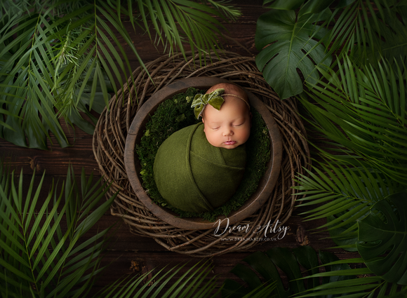 Semi Sheer Olive Green Newborn Wraps CLAIRE