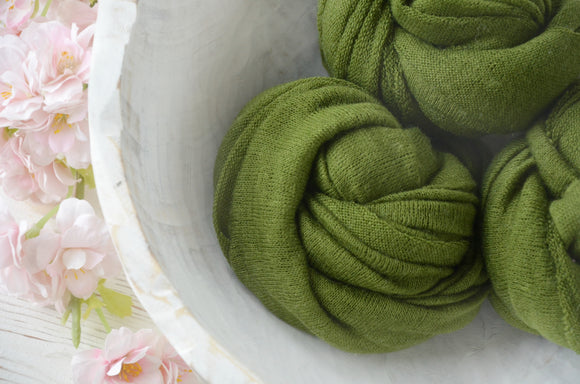 Sheer Olive Green Newborn Wraps CLAIRE