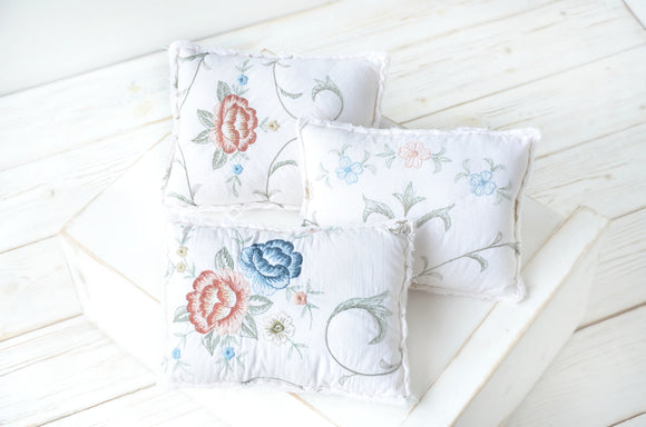 Rustic Embroidered Newborn Pillows