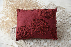 Deep Red Newborn Lace Pillow ROSE (tieback optional)