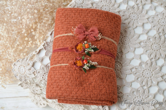 Burnt Orange Textured Wrap And Tieback Set