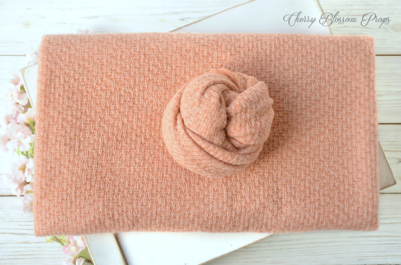 Textured Light Peach Posing Fabric And Wrap SET