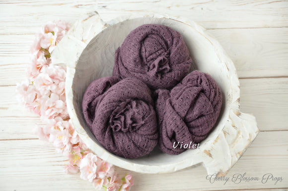 Purple violet stretch knit textured wraps newborn photo props