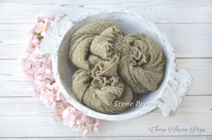Stone brown textured stretch knit wraps newborn photo props