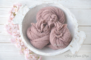 Mauve textured stretch knit newborn wraps photo props