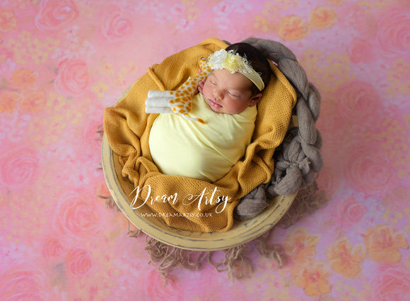 Pastel Yellow Jersey Wrap and Tieback Set ODETTA