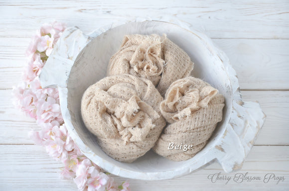 Beige Stretch Textured Knit Wraps Newborn Photo Prop