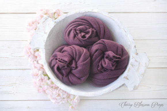 Super Soft Plum Purple Sweater Knit Wraps OLIVIA Newborn Photo Props