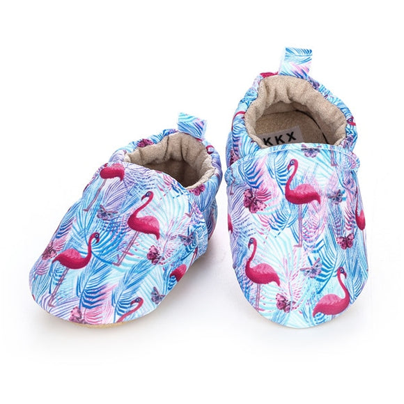 Baby Girls' or Boy Light Blue With Flamingo Printed Shoes
