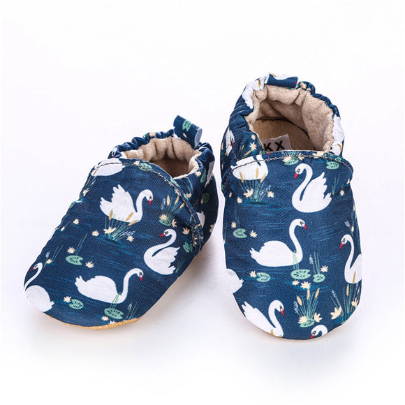 Baby Girls' or Boy White Swan Printed Shoes
