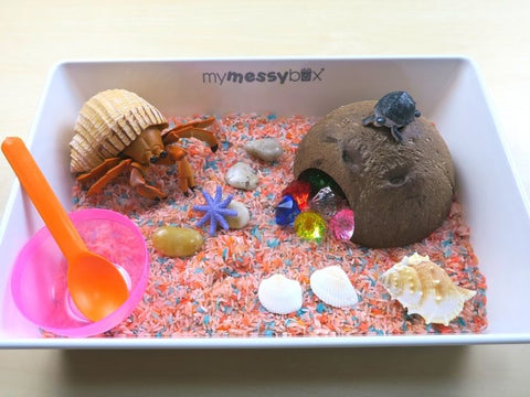 Crabbing by the sunset themed sensory kit front view