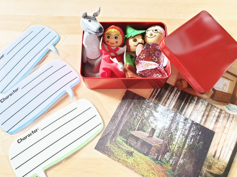 Load image into Gallery viewer, Little red riding hood puppet set