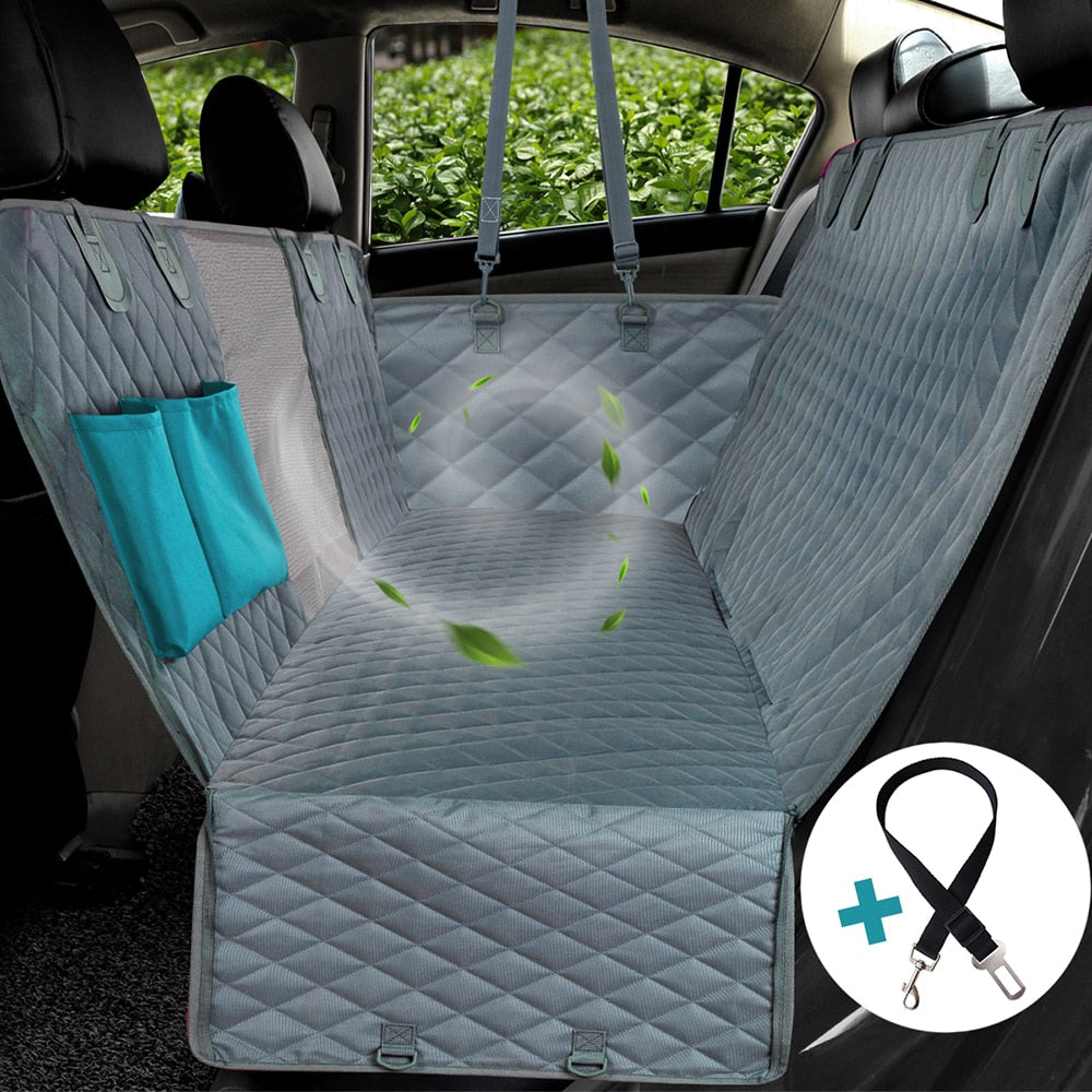 Dog Car Seat Cover View Mesh Waterproof Pet Carrier Car Rear Back Seat Mat Hammock Cushion Protector With Zipper And Pockets | Portable Doggie